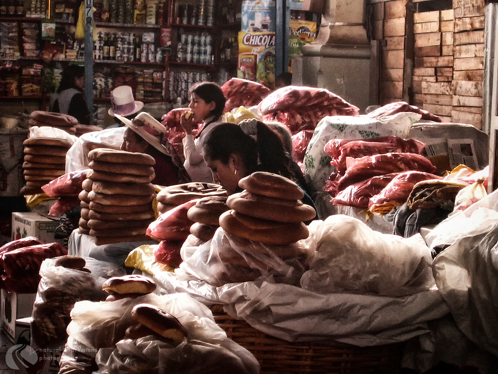 Fresh breads made by Quechua ladies for the Cusco, Peru market