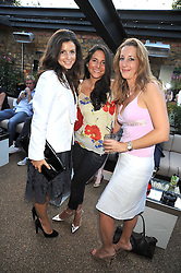 Left to right, SHIRLEY LEIGH-WOOD, GERALDINE VAN DER MAST and LUCY BRUCE-WATT at the launch party of the new Embargo 59 nightclub at 533 Kings Road, London on 25th June 2009.