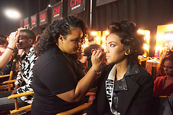 December 8, 2019, Atlanta, Georgia, USA: Pradeepta Adhikari, Miss Nepal 2019 gets makeup done by an OP Cosmetics artist backstage during The Miss Universe Competition telecast, held at Tyler Perry Studios. Contestants from around the globe have spent the last few weeks touring, filming, rehearsing and preparing to compete for the Miss Universe crown. (Credit Image: © Benjamin Askinas/Miss Universe Organization via ZUMA Wire)