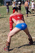 Baden bei Wien, Lower Austria. Naadam Festival of OTSCHIR (Austrian-Mongolian Society) at the Trabrennbahn.<br /> Traditional wrestling.