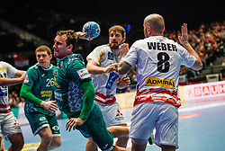 22.01.2020, Wiener Stadthalle, Wien, AUT, EHF Euro 2020, Oesterreich vs Weissrussland, Hauptrunde, Gruppe I, im Bild v. l. Dzmitry Nikulenkau (BLR), Robert Weber (AUT) // f. l. Dzmitry Nikulenkau (BLR) Robert Weber (AUT) during the EHF 2020 European Handball Championship, main round group I match between Austria and Belarus at the Wiener Stadthalle in Wien, Austria on 2020/01/22. EXPA Pictures © 2020, PhotoCredit: EXPA/ Florian Schroetter