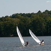 Small sailboats on Lake Quannapowitt, Wakefield, Massachusetts