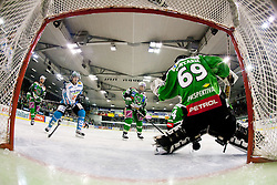 EHC Liwest Linz scores first goal during ice-hockey match between HDD Tilia Olimpija and EHC Liwest Black Wings Linz at second match in Semifinal  of EBEL league, on March 8, 2012 at Hala Tivoli, Ljubljana, Slovenia. (Photo By Matic Klansek Velej / Sportida)