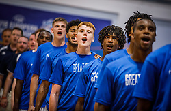 Team Great Britain listening to the National anthem during basketball match between National teams of Great Britain and Slovenia in the Quarter-Final of FIBA U18 European Championship 2019, on August 1, 2019 in Nea Ionia Hall, Volos, Greece. Photo by Vid Ponikvar / Sportida