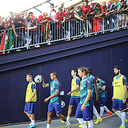 The Portugese team head out for warm up before the Portugal V Mexico International Friendly match in preparation for the 2014 FIFA World Cup in Brazil. Gillette Stadium, Boston (Foxborough), Massachusetts, USA. 6th June 2014. Photo Tim Clayton