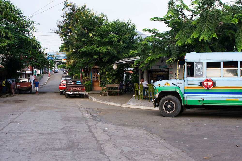 The end of the road from the moyagalpa town dock looking up the hill into the town. The Islands buses terminate here.