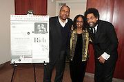 "April 18, 2012- New York, NY : (L-R) Tavis Smiley, TV and radio broadcaster,  Dr. Brenda Greene, professor of English & Executive Director, Center for Black Literature, Medgar Evers College, CUNY and Dr. Cornel West, professor of religion and African-American studies at Princeton University attend the Tavis Smiley and Cornel West Talk and Booksigning of their co-authored new book ' The Rich & the Rest of Us: A Poverty Manifesto ' presented by Dr. Brenda Greene and the National Black Writers Conference held at the Slyvia and Danny Kaye Playhouse at Hunter College (CUNY) on April 20, 2012 in New York City. ..The latest census data shows nearly one in two Americans, or 150 million people, have fallen into poverty  or could be classified as low income. Dr. Cornel West and Tavis Smiley, who continue their efforts to spark a national dialog on the poverty crisis with the new book, ""The Rich and the Rest of Us: A Poverty Manifesto."" (Photo by Terrence Jennings)."