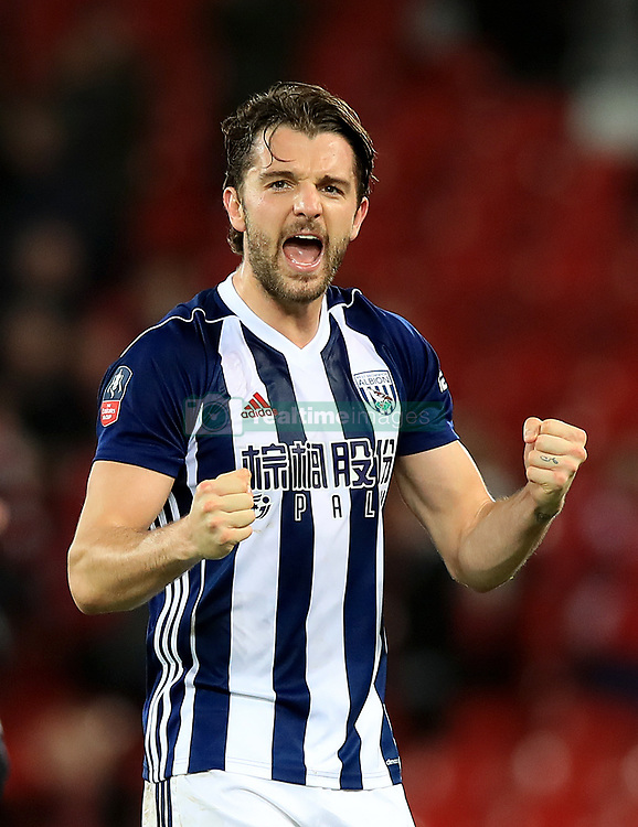West Bromwich Albion's Jay Rodriguez celebrates after the final whistle during the Emirates FA Cup, fourth round match at Anfield, Liverpool.