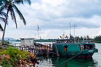 Riau Islands, Bintan. Small wooden cargo vessel at Kijang, south Bintan.