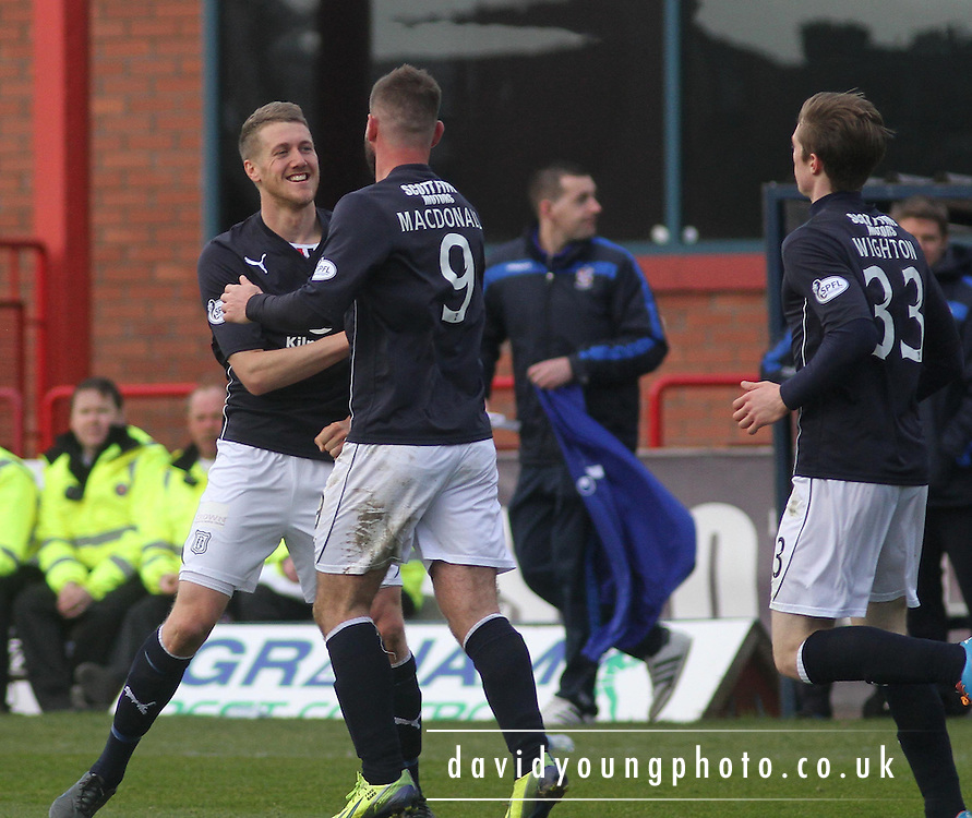 Peter MacDonald congratulates Jim McAlister after the midfielder had scored Dundee's third goal - Dundee v Cowdenbeath, SPFL Championship at Dens Park<br /> <br />  - &copy; David Young - www.davidyoungphoto.co.uk - email: davidyoungphoto@gmail.com