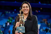 Sunshine Coast coach Noeline Taurua with the trophy.<br /> PERTH, AUSTRALIA - AUGUST 26: West Coast Fever vs the Sunshine Coast Lightning during the Suncorp Super Netball Grand Final match from Perth Arena - Sunday 26th August 2018 in Perth, Australia. (Photo by Daniel Carson/dcimages.org/Netball WA)