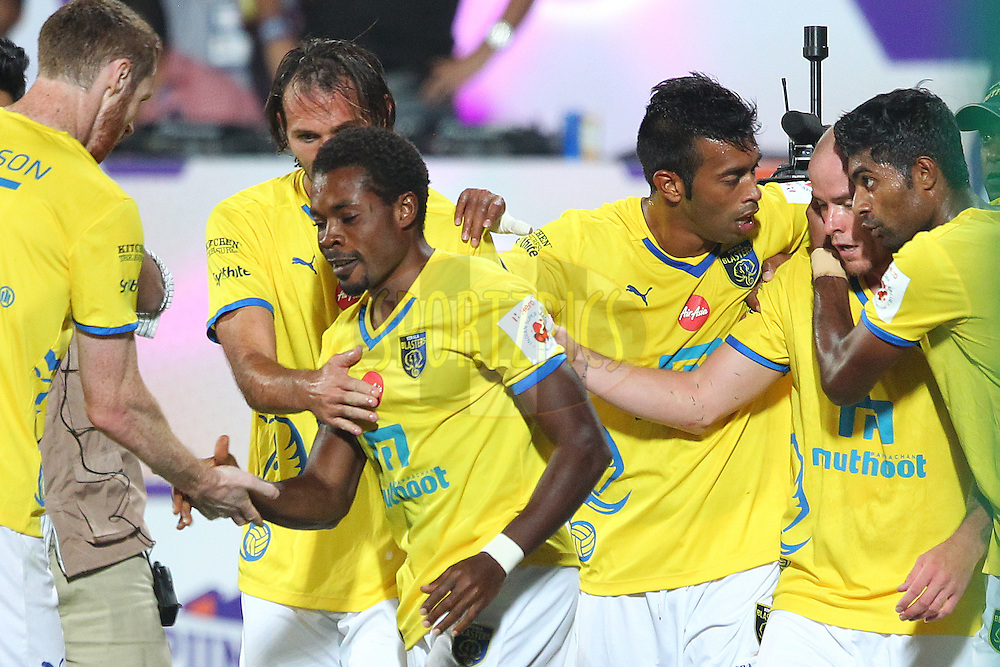 Kerala Blasters FC captain Penn Orji celebrates scoring with team mates during match 17 of the Hero Indian Super League between FC Pune City<br /> and Kerala Blasters FC held at the Shree Shiv Chhatrapati Sports Complex Stadium, Pune, India on the 30th October 2014.<br /> <br /> Photo by:  Ron Gaunt/ ISL/ SPORTZPICS