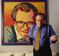 Larry King with jelly bean portrait