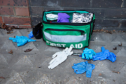 © Licensed to London News Pictures. 02/01/2019. Greenwich, UK.A man in his 30s is in a critical condition after a stabbing in Greenwich. The man was found with stab wounds to his stomach this morning. Police are on guard at a flat and first aid gloves are still on the ground outside the flat.Photo credit: Grant Falvey/LNP