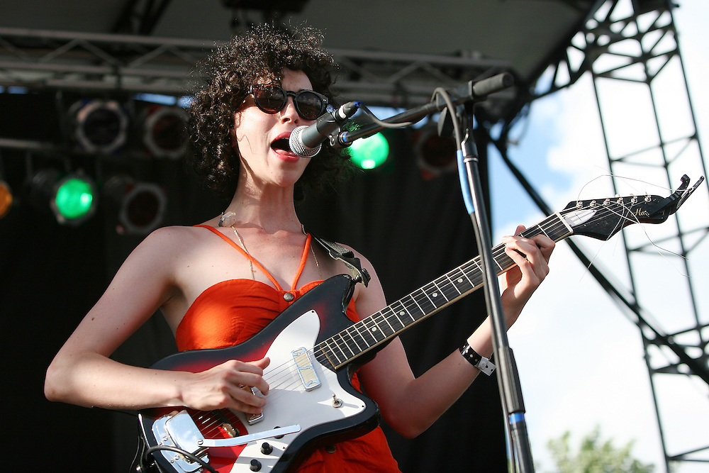 CHICAGO - JULY 18:  Annie Clark aka St. Vincent performs onstage during the 2010 Pitchfork Music Festival at Union Park on July 18, 2010 in Chicago, Illinois.  (Photo by Roger Kisby/Getty Images)