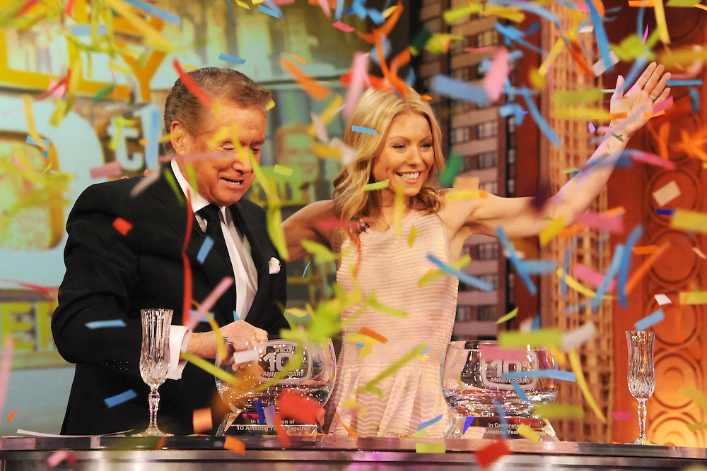 "Regis Philbin and Kelly Ripa are seen on ""Live! with Regis and Kelly"" in 2010 in New York. Photo: David E. Steele/Disney/ABC"