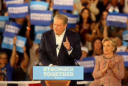 Former Vice President Al Gore speaks as Hillary Clinton listens in Miami at Miami Dade College in Kendall with f The two discussed climate change as well as the upcoming election. Miami, FL, USA, October 11, 2016. Photo by Mike Stocker/Sun-Sentinel/TNS/ABACAPRESS.COM