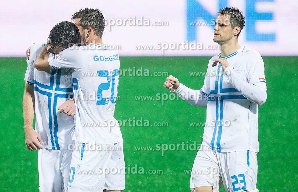 Josip Elez of HNK Rijeka and Alexander Gorgon of HNK Rijeka celebrate after Josip Elez of HNK Rijeka scored first goal for Rijeka during football match between HNK Rijeka and HNK Hajduk Split in Round #15 of 1st HNL League 2016/17, on November 5, 2016 in Rujevica stadium, Rijeka, Croatia. Photo by Vid Ponikvar / Sportida