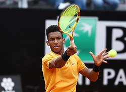 May 13, 2019 - Rome, Italy - Felix Auger-Aliassime (CAN) during the ATP Internazionali d'Italia BNL first round match at Foro Italico in Rome, Italy on May 13, 2019. (Credit Image: © Matteo Ciambelli/NurPhoto via ZUMA Press)