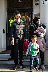 London, UK. 14th February, 2019. Sayed Ahmed Alwadaei stands outside the Bahrain Embassy with activists from the Bahrain Institute for Rights and Democracy (BIRD) and Campaign Against the Arms Trade (CAAT) to mark eight years since the Day of Rage in Bahrain, a movement for democracy and social justice which was crushed by the Bahraini regime with support from the military of Saudi Arabia. Speakers called for the release of political prisoners held in Bahrain and for the UK to stop licensing arms to Bahrain (over £100 million in licences have been granted since the uprising began in February 2011). Alwadaei was granted asylum in the UK in 2012 after being given a six-month sentence by the Bahrain government for his involvement in Arab Spring protests. Bahrain was recently found guilty by a UN body of arbitrarily detaining three of his relatives after he protested in London against a 2017 visit by the King of Bahrain Hamad bin Isa Al Khalifa.