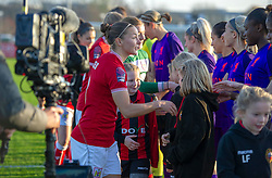Bristol City Women captain, Loren Dykes shakes hand with Liverpool FC Women in front of live television camera - Mandatory by-line: Paul Knight/JMP - 17/11/2018 - FOOTBALL - Stoke Gifford Stadium - Bristol, England - Bristol City Women v Liverpool Women - FA Women's Super League 1