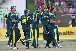 © Licensed to London News Pictures. 08/03/2012. Adelaide Oval, Australia. Brett Lee & the Australian team celebrate the important wicket of Tillakaratne Dilshan during the One Day International cricket match final between Australia Vs Sri Lanka. Photo credit : Asanka Brendon Ratnayake/LNP
