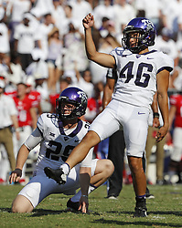 September 16, 2017 - Fort Worth, TX, USA - Texas Christian kicker Jonathan Song (46) converts a third-quarter extra point, with Adam Nunez (29) holding, against Southern Methodist at Amon Carter Stadium in Fort Worth, Texas, on Saturday, Sept. 16, 2017. TCU won, 56-36. (Credit Image: © Paul Moseley/TNS via ZUMA Wire)