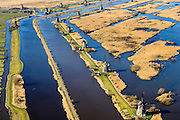 Nederland, Zuid-Holland, Elshout, 18-02-2015; Kinderdijk. De trekpleister voor toeristen: de molens van Kinderdijk staan op de Werelderfgoedlijst van de Unesco. <br />  The main tourist attraction of the Netherlands: the windmills of Kinderdijk, World Heritage List of UNESCO.<br />  luchtfoto (toeslag op standard tarieven);<br /> aerial photo (additional fee required);<br /> copyright foto/photo Siebe Swart