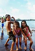Kid playing, Hana Bay, Maui, Hawaii