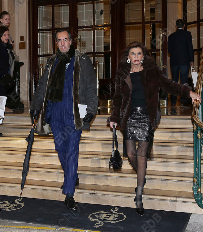 03.MARCH.2013. PARIS<br /> <br /> JAIME DE MARICHALAR AND MARISA DE BOURBON ARE SEEN LEAVING THEIR HOTEL IN PARIS.<br /> <br /> BYLINE: EDBIMAGEARCHIVE.CO.UK<br /> <br /> *THIS IMAGE IS STRICTLY FOR UK NEWSPAPERS AND MAGAZINES ONLY*<br /> *FOR WORLD WIDE SALES AND WEB USE PLEASE CONTACT EDBIMAGEARCHIVE - 0208 954 5968*