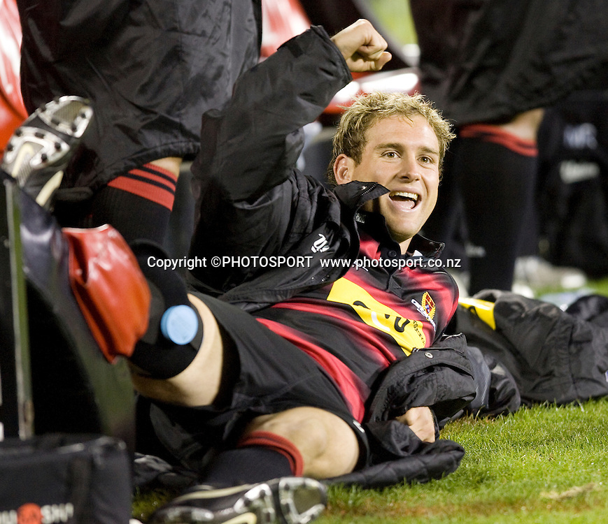 Andy Ellis on the sideline with his leg up and celebrating a Canterbury try on the big screen. Air NZ Cup, Semi-final. Canterbury v Hawkes Bay at AMI Stadium, Christchurch, New Zealand. 18 October 2008 Photo: Joseph Johnson/PHOTOSPORT