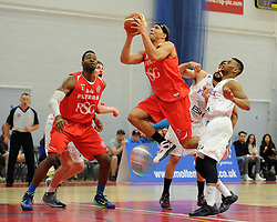 Bristol Flyers' Greg Streete jumps for the basket - Photo mandatory by-line: Dougie Allward/JMP - Mobile: 07966 386802 - 18/04/2015 - SPORT - Basketball - Bristol - SGS Wise Campus - Bristol Flyers v Leeds Force - British Basketball League