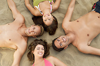 Friends Lying Down on Sand Together