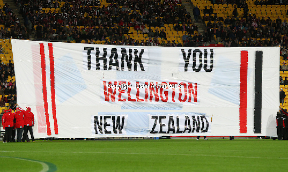 a banner during the 2013 AFL season. St Kilda Saints v Sydney Swans, Westpac Stadium, Wellington, New Zealand on Thursday 25 April 2013. Photo: Justin Arthur / www.photosport.co.nz