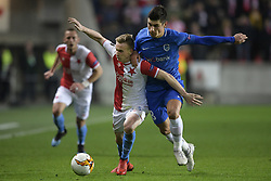 February 14, 2019 - Prague, CZECH REPUBLIC - Slavia's Petr Sevcik and Genk's Ruslan Malinovski fight for the ball during a soccer game between Czech club SK Slavia Praha and Belgian team KRC Genk, the first leg of the 1/16 finals (round of 32) in the Europa League competition, Thursday 14 February 2019 in Prague, Czech Republic. BELGA PHOTO YORICK JANSENS (Credit Image: © Yorick Jansens/Belga via ZUMA Press)