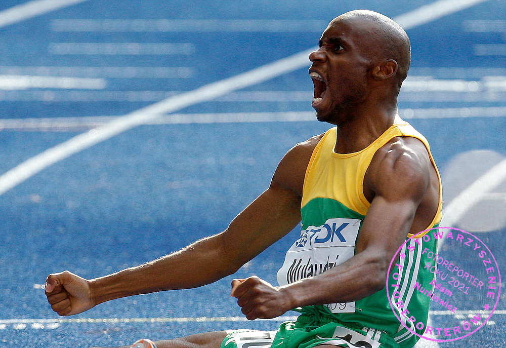 BERLIN 23/08/2009.12th IAAF World Championships in Athletics Berlin 2009.Mbulaeni Mulaudzi of South Africa celebrates after winning the gold medal in the final of the Men's 800m during the World Athletics Championships.Phot: Piotr Hawalej / WROFOTO