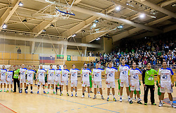 Team Slovenia listening to the national anthem during friendly handball match between National Teams of Slovenia and F.Y.R. of Macedonia on December 28, 2013 in Sports hall Polaj, Trbovlje, Slovenia. Photo by Vid Ponikvar / Sportida