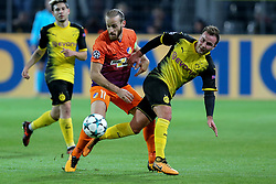 DORTMUND, Nov. 02, 2017  Mario Goetze (R) of Borussia Dortmund vies with Nektarios Alexandrou of APOEL Nicosia during their UEFA Champions League Group H soccer match in Dortmund, Germany on Nov. 1, 2017. The match ended with a 1-1 tie. (Credit Image: © Joachim Bywaletz/Xinhua via ZUMA Wire)