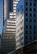 Detail of office buildings and architecture, mid-town Manhattan, New York City, New York