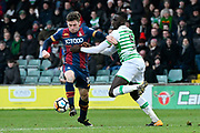 Shay McCartan (14) of Bradford City battles for possession with Bevis Mugabi (5) of Yeovil Town during the The FA Cup 3rd round match between Yeovil Town and Bradford City at Huish Park, Yeovil, England on 6 January 2018. Photo by Graham Hunt.