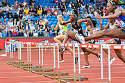 Janeek Brown (JAM) approaches a hurdle during heats of the women's 100m hurdles at the Birmingham Grand Prix, Sunday, Aug 18, 2019, in Birmingham, United Kingdom. (Steve Flynn/Image of Sport via AP)