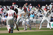 Northants Steelbacks Rob Keogh LBW  during the Specsavers County Champ Div 2 match between Lancashire County Cricket Club and Northamptonshire County Cricket Club at the Emirates, Old Trafford, Manchester, United Kingdom on 14 May 2019.