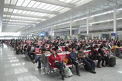 Interior of new Hongqiao railway station in Shanghai China