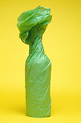 Bottle gift wrapped in bright green paper against a yellow background