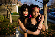 """ELK GROVE, CALIFORNIA - DECEMBER 17: Ola Ray, who co-starred with Michael Jackson in his """"Thriller"""" music video, poses for a portrait with her 14-year-old daughter Iam Ray, right, December 17, 2009 in Elk Grove, California.  (Photo by Max Whittaker/Getty Images for Stern)"""