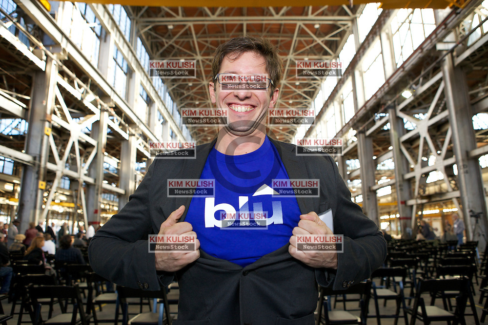 """Luc Deckinga thinks it is """"Super"""" that Blu Homes is opening their West Coast factory on Mare Island in Vallejo, California Dec. 1, 2011.  Over 400 guests attended a ribbon cutting ceremony at the 250,000-square-foot facility."""