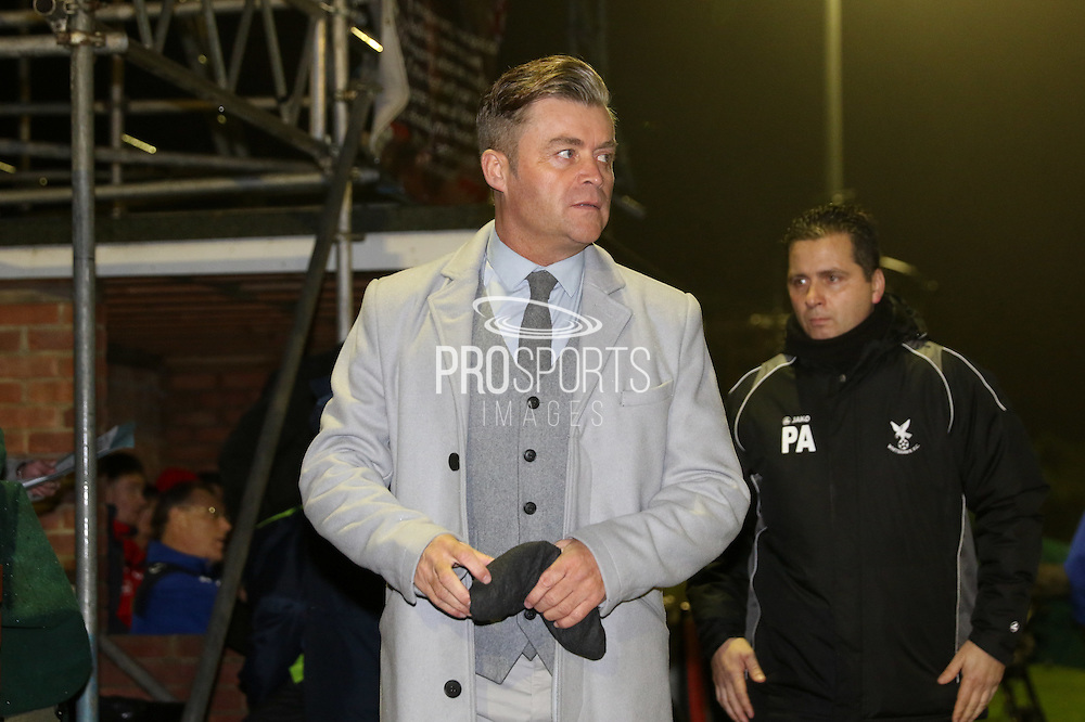 Whitehawk Manager Steve King during the The FA Cup 2nd round replay match between Whitehawk FC and Dagenham and Redbridge at The Enclosed Ground, Whitehawk, Brighton, United Kingdom on 16 December 2015. Photo by Ellie Hoad.