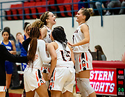 The Lady Tigers celebrating a victory over the Choctaw Blue Jackets Saturday, March 02, 2019 at Western Heights.