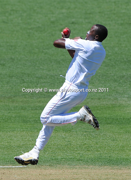 Shingirai Masakadza bowling during play on day 1 of the first cricket test, New Zealand v Zimbabwe at McLean Park. Thursday 26 January 2012. Napier, New Zealand. Photo: Andrew Cornaga/Photosport.co.nz