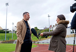 BARRY, WALES - Thursday, October 3, 2019: Wales manager Ryan Giggs speaks with Sky Sports' Michelle Owen after a press conference to announce his squad for the forthcoming UEFA Euro 2020 Qualifying Group E qualifying matches against Slovakia and Croatia. (Pic by David Rawcliffe/Propaganda)